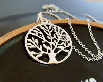 Sterling Silver Tree Of Life Charm Necklace, Sterling Silver Family Tree Necklace, Tree Pendant Necklace, Round Leafy Tree Charm Necklace