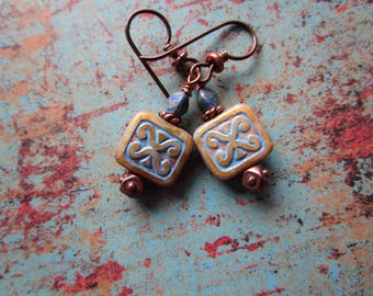 Bohemian Czech Tribal Glass Earrings Trix One of a Kind Earrings Hypoallergenic Niobium Hooks Blue and Tan Tribal and Natural Earrings