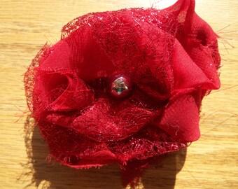 Red Flower Hair Clip