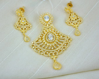 SALE 50% OFF Gold plated cubic zirconia Indian pendant set with white stones | Indian Jewelry set perfect for Indian weddings