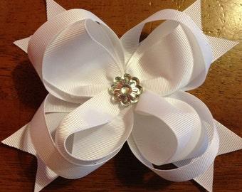 White layered hair bow