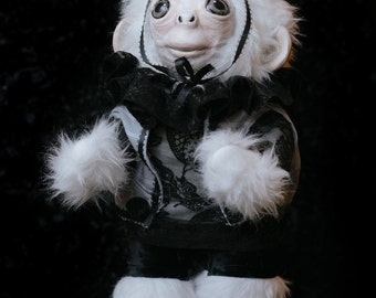 OOAK fine art doll: Albino Circus Monkey in Lace and Velvet with Pillbox Hat