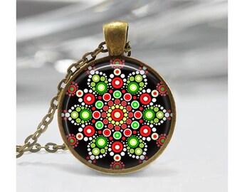 Christmas Mandala Pendant, Abstract Art Pendant, Mandala Necklace, Abstract Jewelry, Dot Painting Pendant, Mandala Jewelry, Glass Dome, m13
