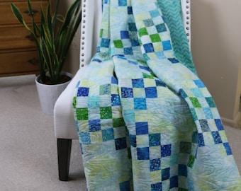 Queen Quilt- Batik Blue/Green - Irish Seas