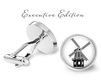 Windmill Cufflinks - Wind Mill Cuff Links (Pair) Lifetime Guarantee (S0912)