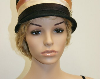 Vintage 20's Style Flapper Black Velour Cloche Top Hat by Neumann Endler Electa