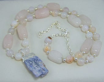 N316, Rose Quartz, White Banded Agate and Blue Kyanite Necklace