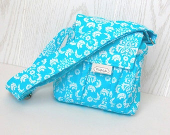 Padded Compact Camera Bag in Blue Damask and Gray with Adjustable Strap Digital Canon Rebel T3i EOS 55mm