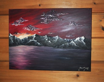 Crimson Sunset Oil Painting on Canvas