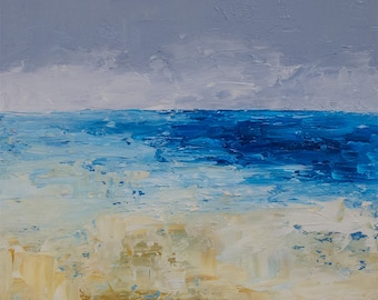 Original Abstract oil painting, SANDY BEACH, seascape, texture,beach art, modern art, blue, 6x6 inches