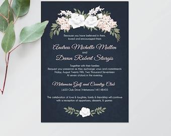 Printable Wedding Invitation - Navy Wedding Invitation - Navy and Blush Wedding Invite - Printable Invitations - Blush Wedding Stationery