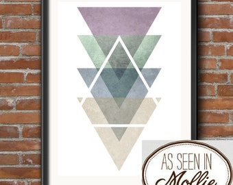 Triangle Geometric Poster Print, Abstract Print, Pastel Colours, Modern, Minimalist Poster, High Quality, Different Sizes, Minaminist Art
