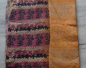 Vintage throw kantha quilt, bedspreads,throws,ralli gudari, reversible bedding old cotton textile patchwork