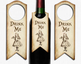 Alice in Wonderland Bottle Label Tags ,Wedding, Tea Party, Birthday, Wine Bottle, Bottle,Gift Tag, Drink Me, Bottle Tags, Wonderland