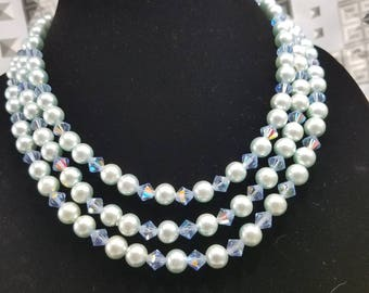 Stunning Triple Strand Beaded Necklace from Japan with Faux Pearls and Cut Crystals