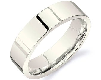 14k Vanilla Gold Band (6mm) / PLAIN / Polished Flat + Comfort Fit / Men's Women's Wedding Ring White Unplated Champagne