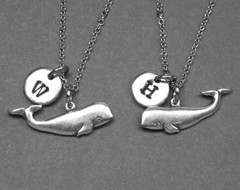 Best friend necklace, whale necklace, animal necklace, whale jewelry, BFF necklace, best friend jewelry, personalized, initial necklace