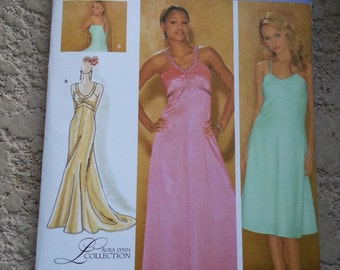 Halter dress/long gown/ Evening /sleeveless /sexy /prom dress 2006 sewing Pattern, Size 14 16 18 20 22, Bust 36 38 40 42 44, Simplicity 4215
