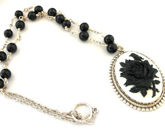 Black Rose on White Cameo Black Agate Genuine Gemstone Wire Wrapped Necklace