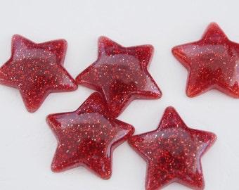 5 star shaped flatback acrylic glitter cabochons