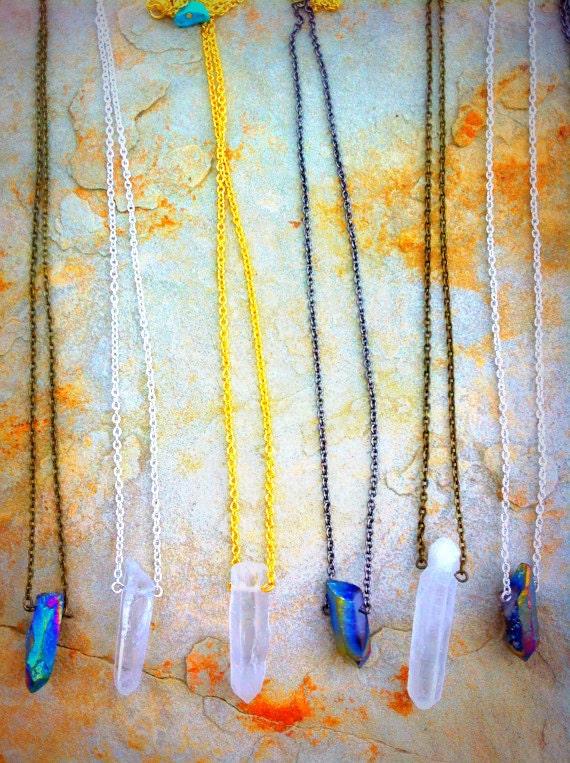 Quartz prism pendant necklace titanium rainbow or clear like this item aloadofball Images