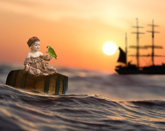 Pirate Ship Digital Backdrop / Background / Barrel / Parot - Instant Downloads