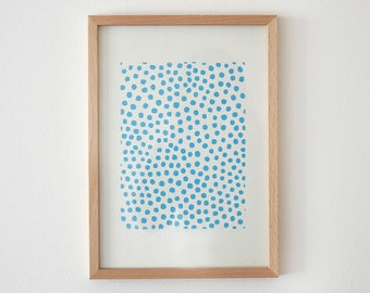 Original wood cut poster a4 dots light blue