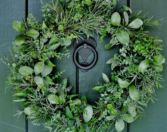 Winter Garden - Frosted Herb Winter Wreath, Christmas Wreath, Winter Wreath, Christmas, Holiday Wreath, Holiday Decor, Winter