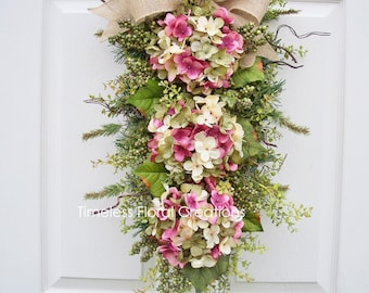"Hydrangea Wreath Swag~ ""Spring Blossoms"" ~ Door decoration~Timeless Floral Creations"