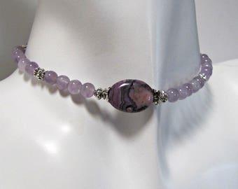 RAS de cou améthyste, collier, pendentif Crazy Lace, bijoux de corps, collier de pierres précieuses, Collier ras de cou BOHO, minimaliste, Bohème, #1312