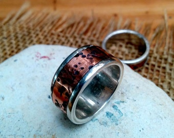 Rustic Polished Copper Sterling Ring Band.  2 X 10mm Thick and Wide.