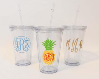 Monogrammed Double Wall Tumbler with Straw Clear Acrylic Cup