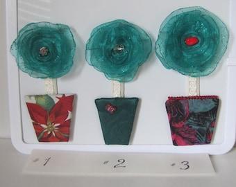 Fridge magnet home decor topiary silk flower Czech beads kitchen decor green organza Handmade with love