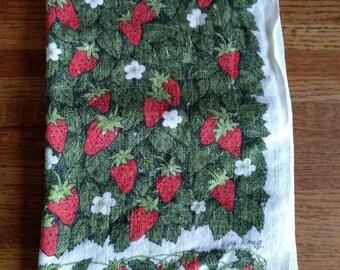 Vintage Lois Long Strawberries Linen Kitchen Tea Towel