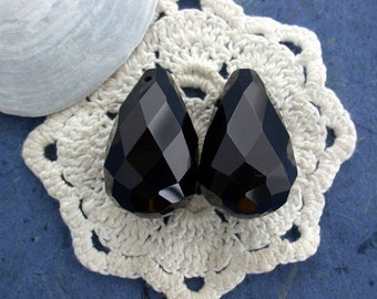 2 Large ~ 30 x 18mm Black Onyx Faceted Pendants, Black Onyx Faceted Beads, Large Black Onyx, Semi Precious Beads, Gemstone Beads SP-033