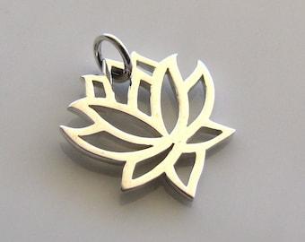 Sterling Silver Lotus Charm