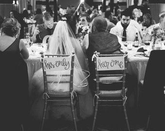 Her One, His Only Wedding Sweetheart Table or Chair Signs Hand Painted Walnut with White Lettering Calligraphy