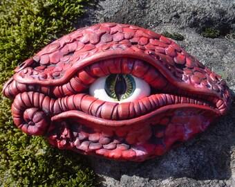 Stoneware handmade red dragon eye