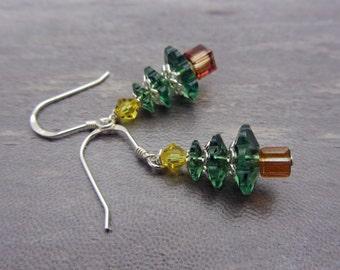Christmas Tree Crystal Earrings Swarovski Green Tree Earrings Sparkling Earrings Christmas Jewelry SRAJD USA Handmade