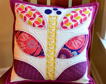 Quilted Flower Pillow Cover