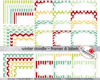 Winter Doodle Frames & Labels: Clip Art Pack Card Making Digital Frames Page Borders Chevron Dots Stripes