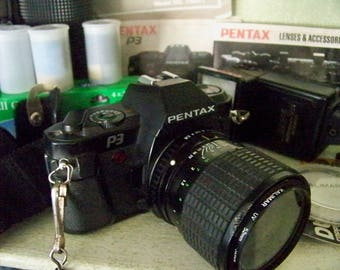 Vintage Pentax P3 35mm Camera with Accessories and Case