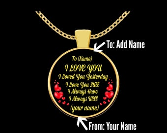 CUSTOM I Love You Pendant Necklace in 18K Gold or Sterling Silver