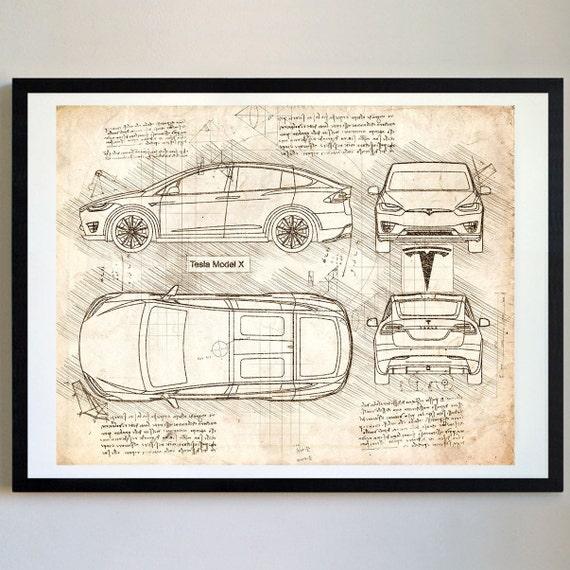 Tesla model x 2015 17 da vinci sketch tesla artwork malvernweather Images
