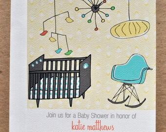 Mid Century Modern Nursery Baby Shower Invitation with Stickers Set in Blue