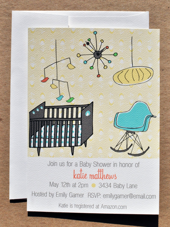 Mid Century Modern Nursery Baby Shower Invitation with