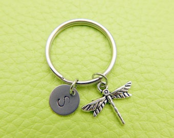 Dragonfly initial Keychain personnalized stainless steel monogram Keyring