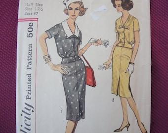 vintage 1960s Simplicity sewing pattern 2972 two piece dress size 16 1/2 UNCUT