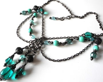 Gothic Green Necklace Crystal Teal Necklace Bridal Black Victorian Necklace Wedding Vintage Jewelry