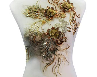 1piece Gold Metallic 3D Floral Beaded Sequin Lace Embroidery Applique Lace Fabric Pacthes Motif Embossed Sewing Supplies T2142